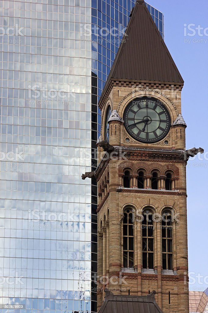 Clock Tower in Old City Hall in Toronto stock photo