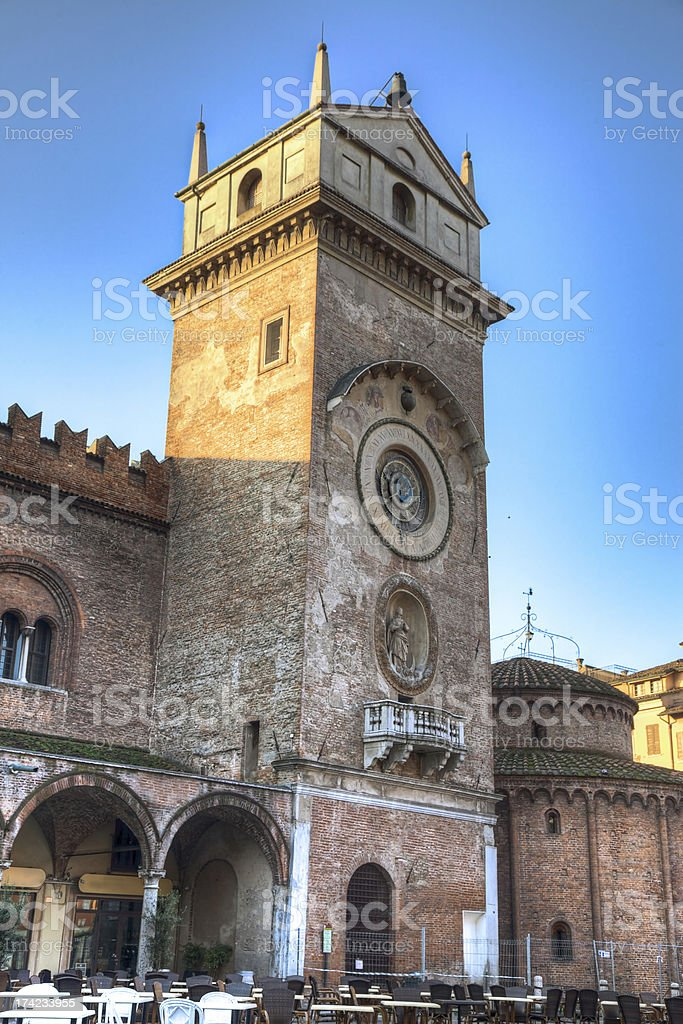 Clock Tower in Piazza Erbe, Mantua-Italy royalty-free stock photo