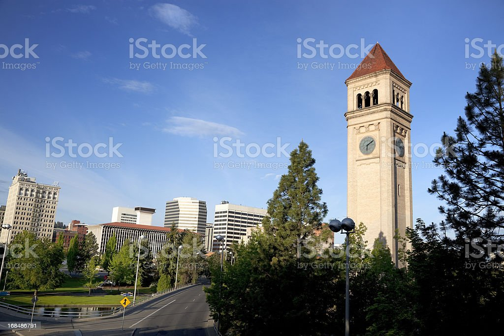 Clock tower in Riverfront Park stock photo
