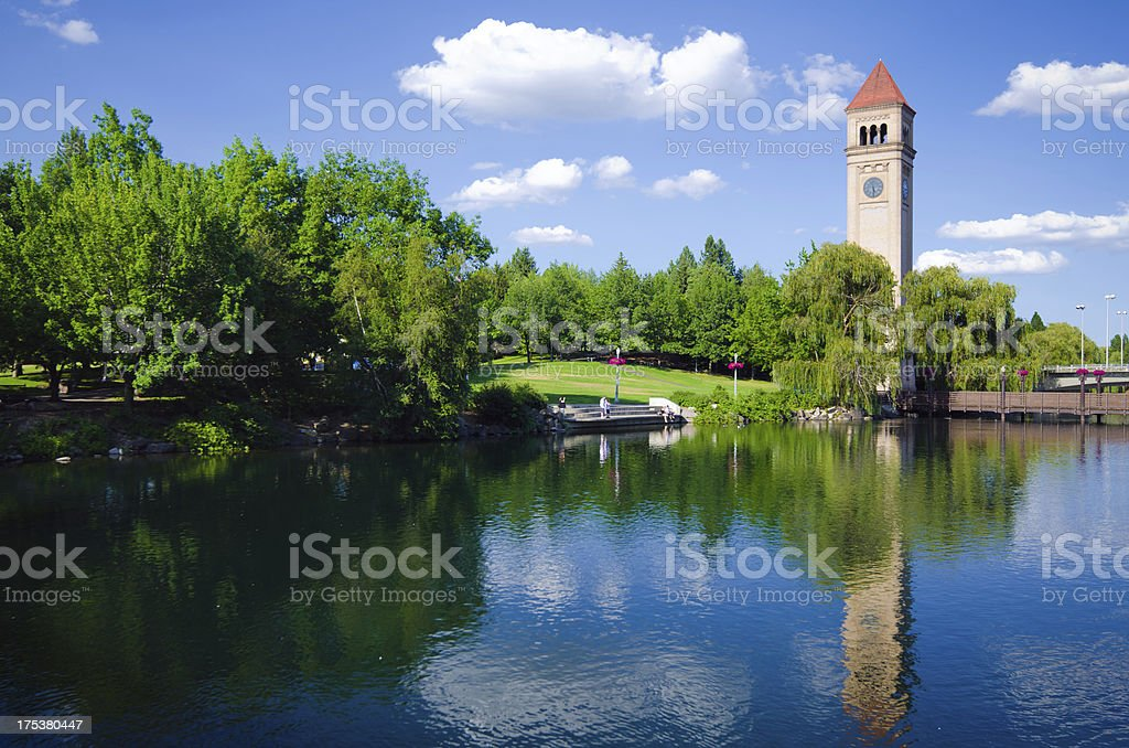 Clock tower in Riverfront Park, Spokane, WA with reflection stock photo