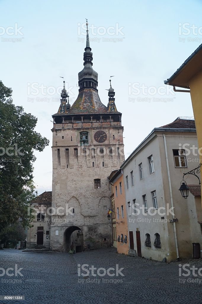 Clock Tower (Turnul cu ceas) in Sighisoara, Transylvania, Romania stock photo