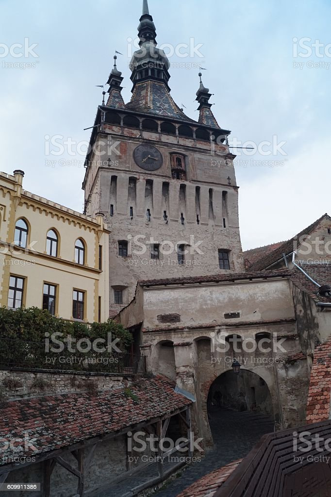 Clock Tower (Turnul cu ceas) in Sighisoara, Transylvania, Romania stock photo