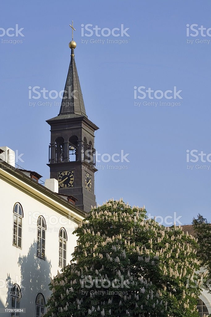 Clock tower in spring royalty-free stock photo