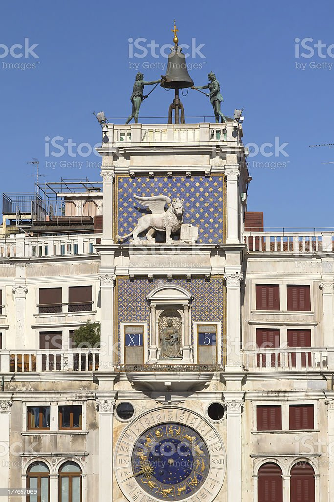 Clock tower in St Mark`s square  (Venice ,Italy) royalty-free stock photo