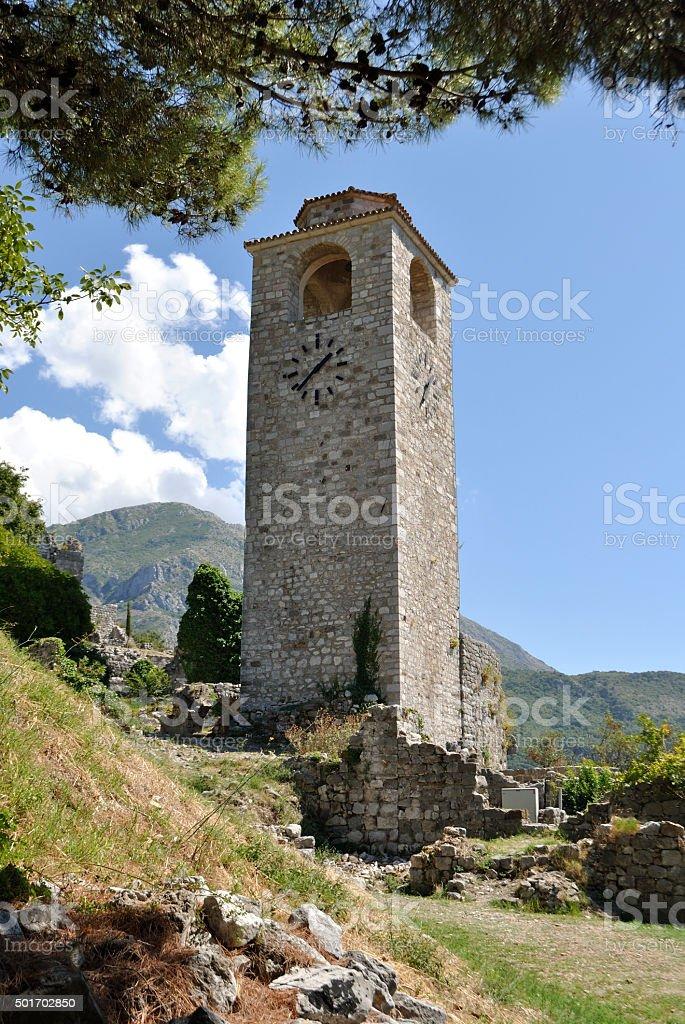Wieża zegarowa w starym Bar miasta, Czarnogóra zbiór zdjęć royalty-free