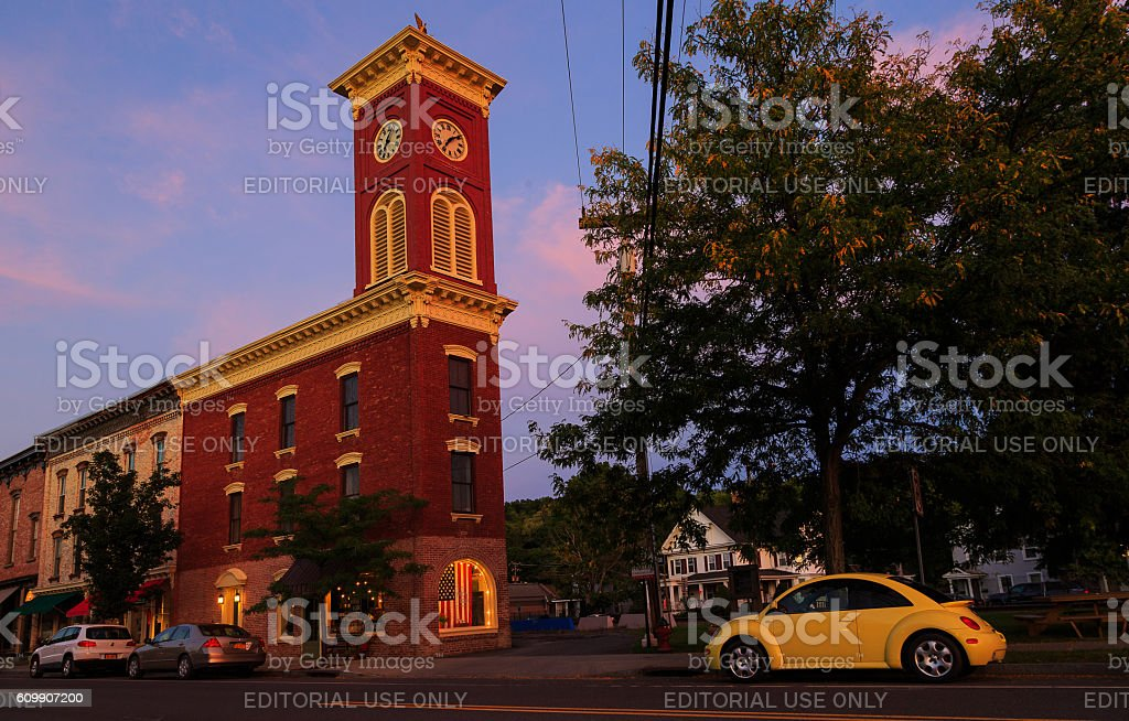 Chatham, NY USA - September 2016. Clock tower in the stock photo