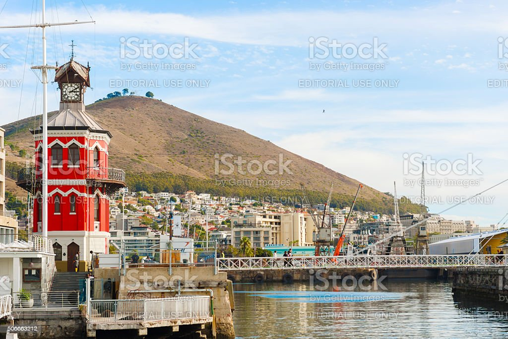 Clock Tower in the Waterfront in Cape Town stock photo