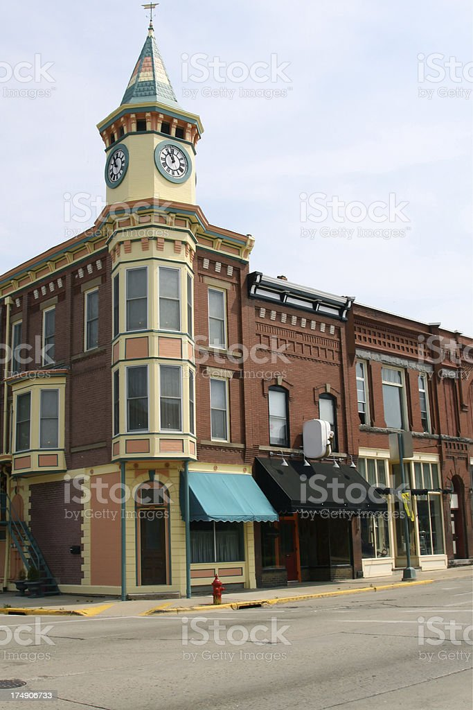 Clock Tower In Town Square royalty-free stock photo