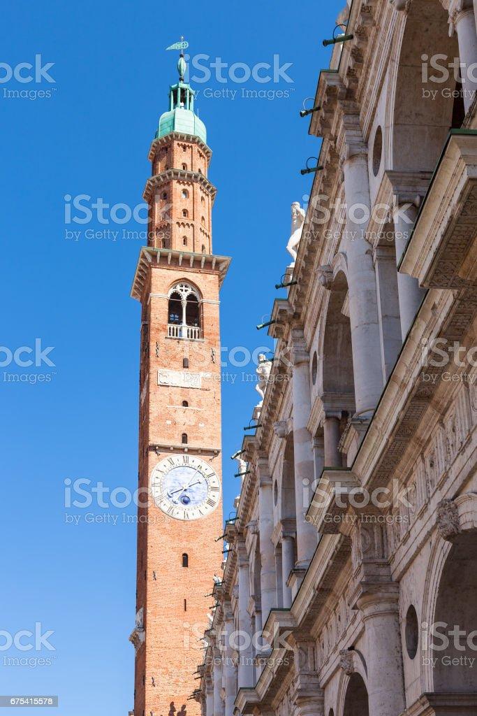 clock tower (torre della bissara) in Vicenza city stock photo