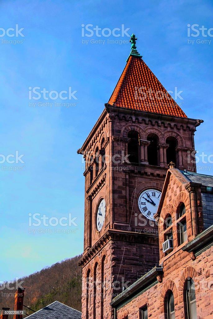 Clock Tower - Jim Thorpe, PA stock photo