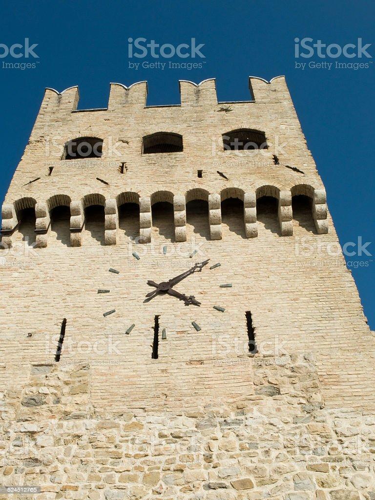 Clock tower, MonteFalco, Umbria stock photo