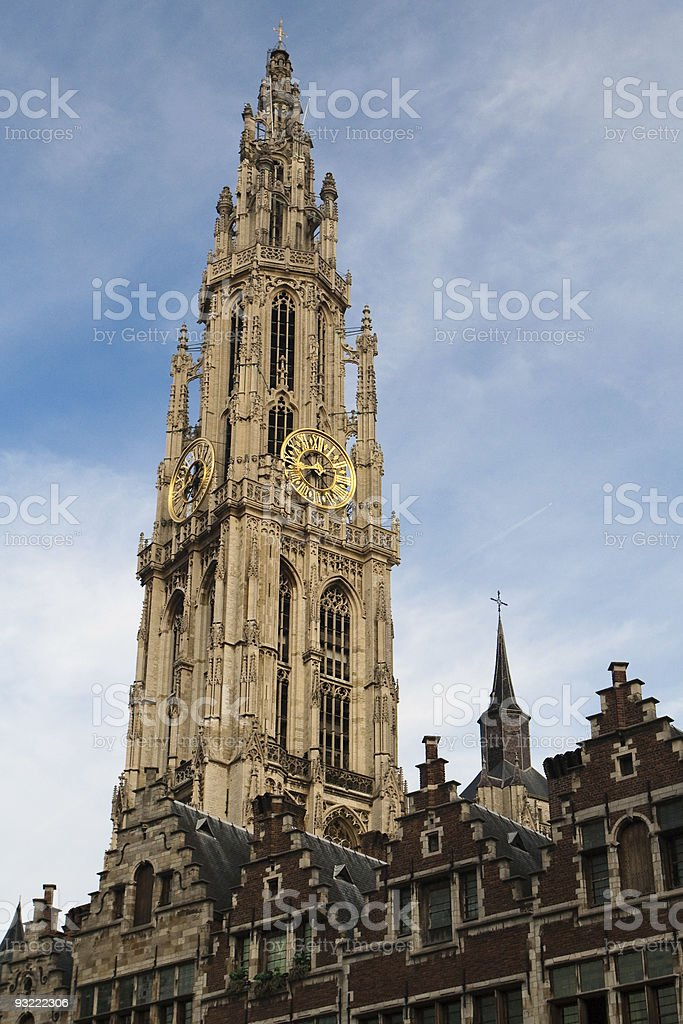 Clock tower of Antwerpen, Belgium royalty-free stock photo
