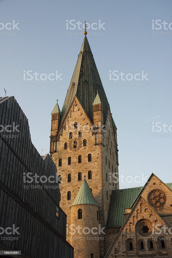 clock tower of cathedral stock photo
