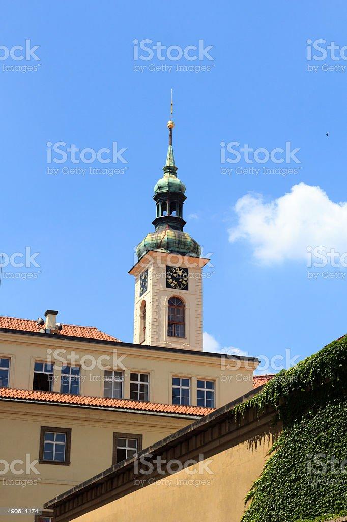 Clock tower of Clementinum, Prague stock photo