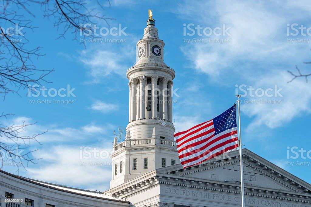 Clock Tower of Denver City Hall stock photo