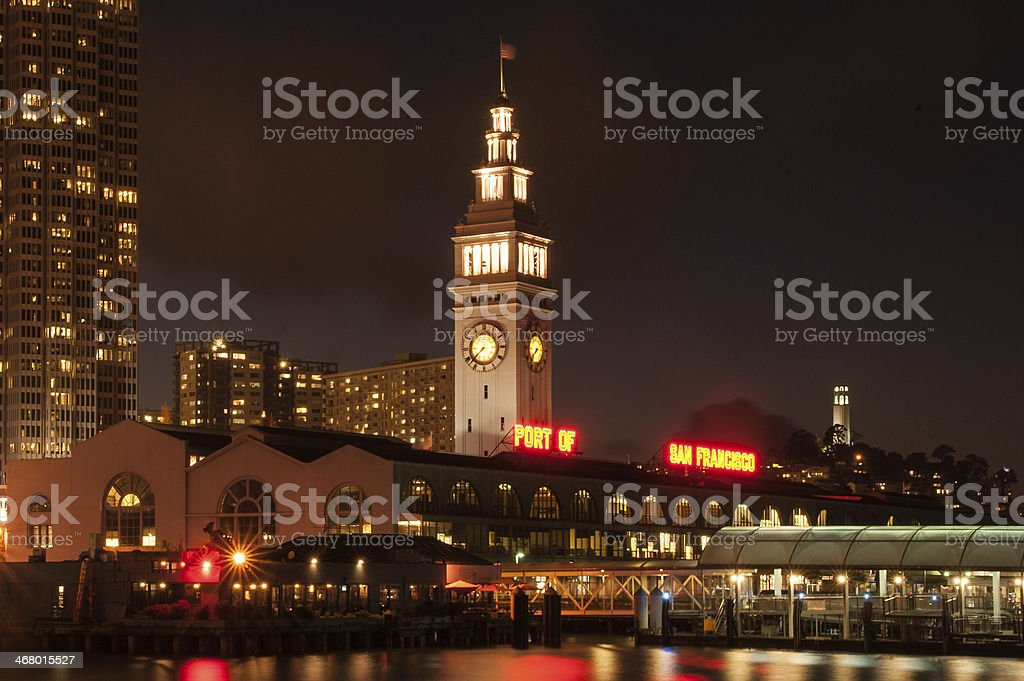 Clock tower of Ferry Building stock photo