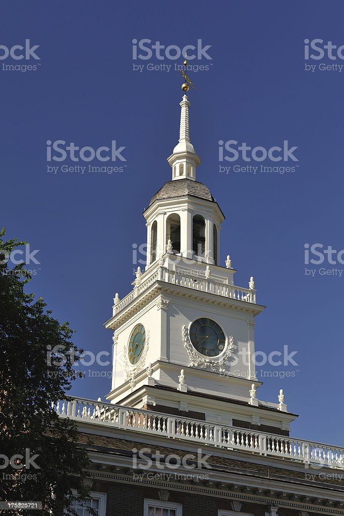 Clock tower of Independence Hall royalty-free stock photo