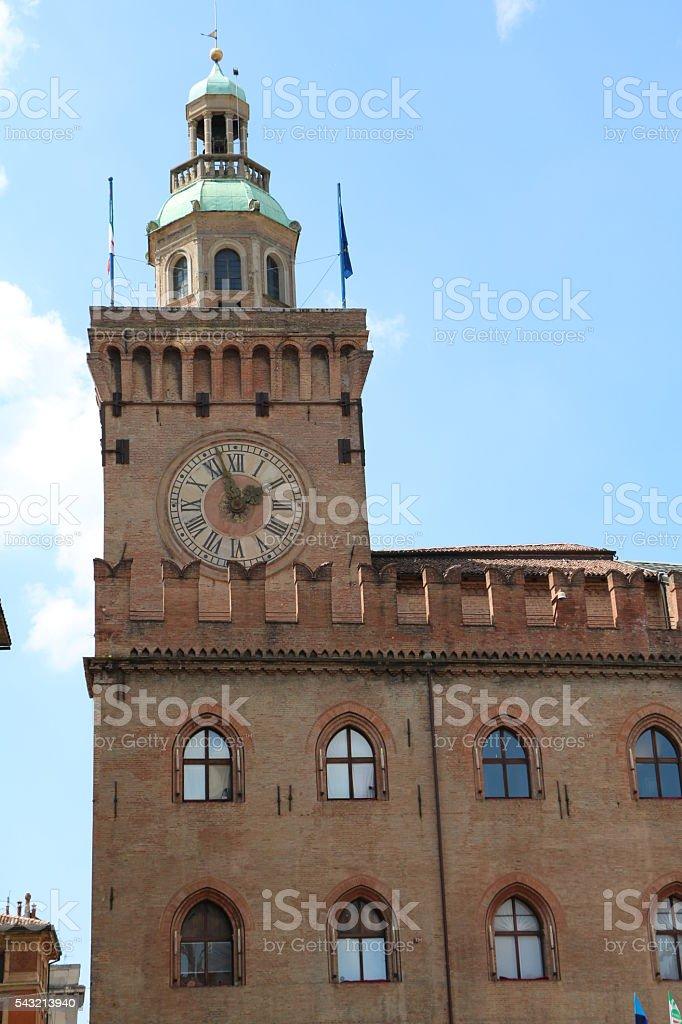 Clock tower of Palazzo d'Accursio at Piazza Maggiore, Bologna  Italy stock photo