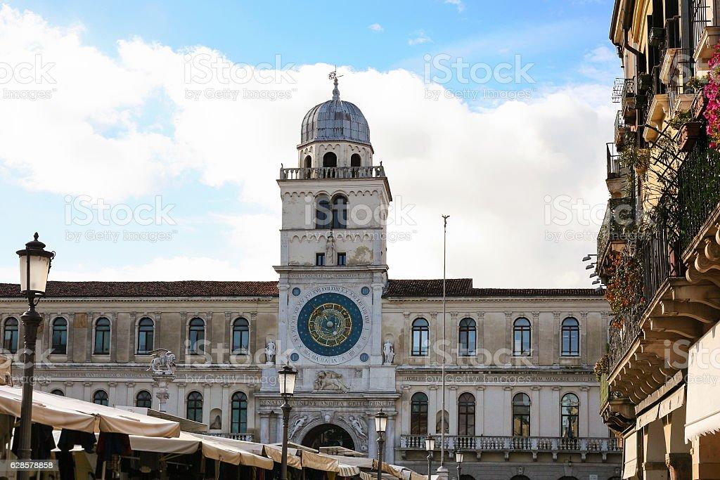 clock tower of Palazzo del Capitanio in Padua city stock photo