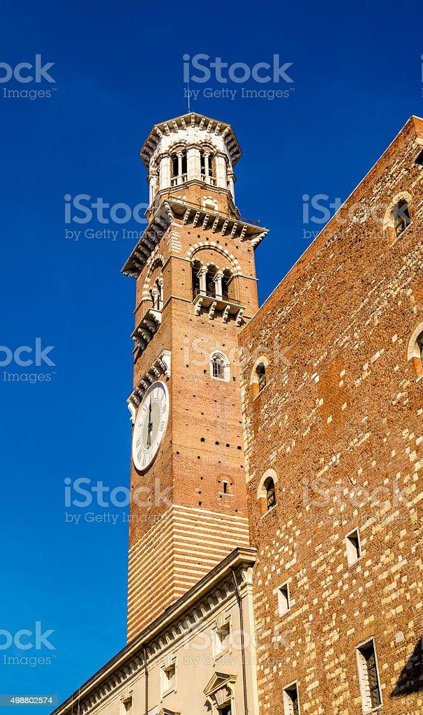 Clock tower of Palazzo della Ragione in Verona - Italy stock photo