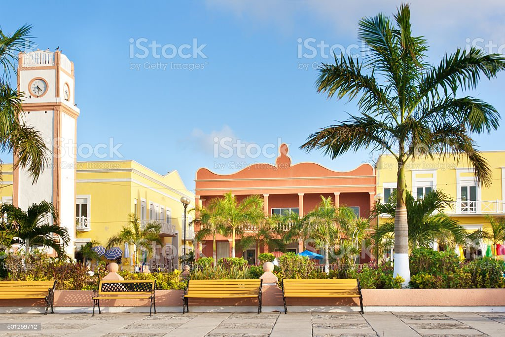Clock Tower of Plaza del Sol, San Miguel, Cozumel, Mexico stock photo