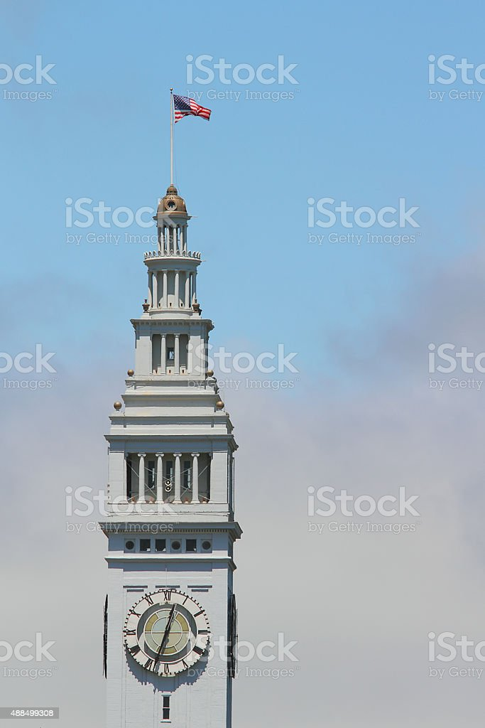 Clock tower of San Francisco's Ferry Building stock photo