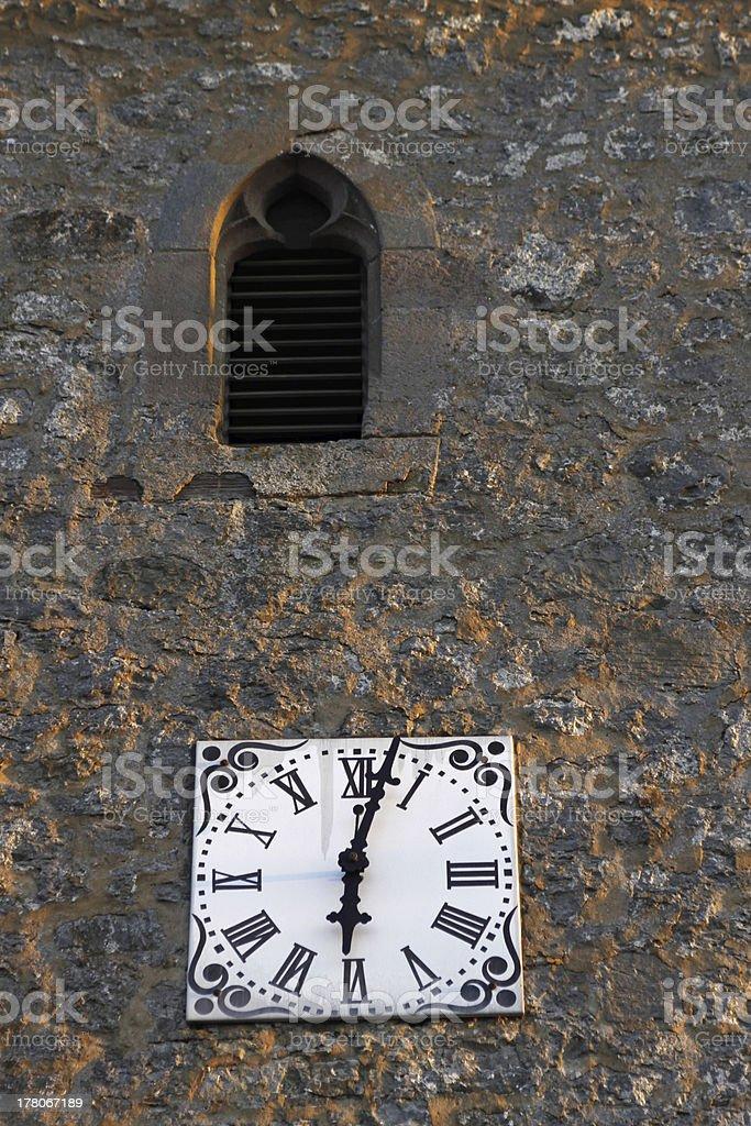 Clock tower of St. Paul's Church in Neersen stock photo
