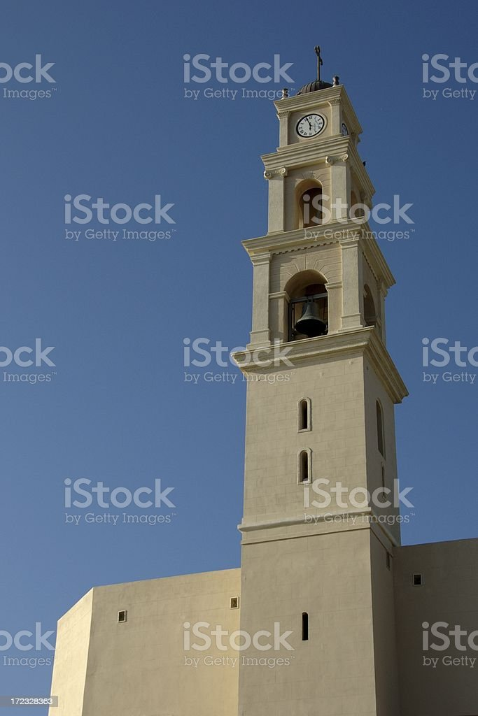 Clock Tower of St Peter Church @ Old Jaffa City (Israel) royalty-free stock photo
