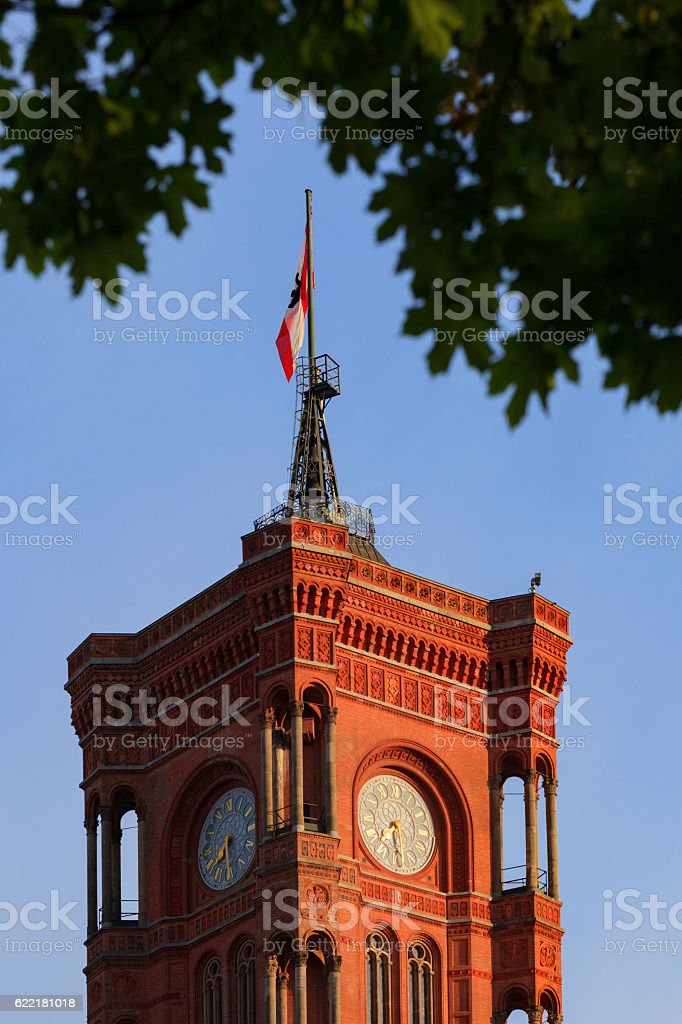 clock tower of the Berlin town hall stock photo