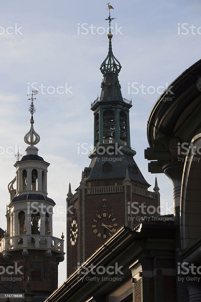 clock tower of The Hague's Big or St. James Church royalty-free stock photo