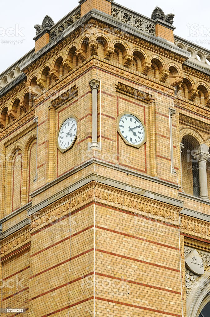 Clock tower of the Hannover central station, Germany stock photo