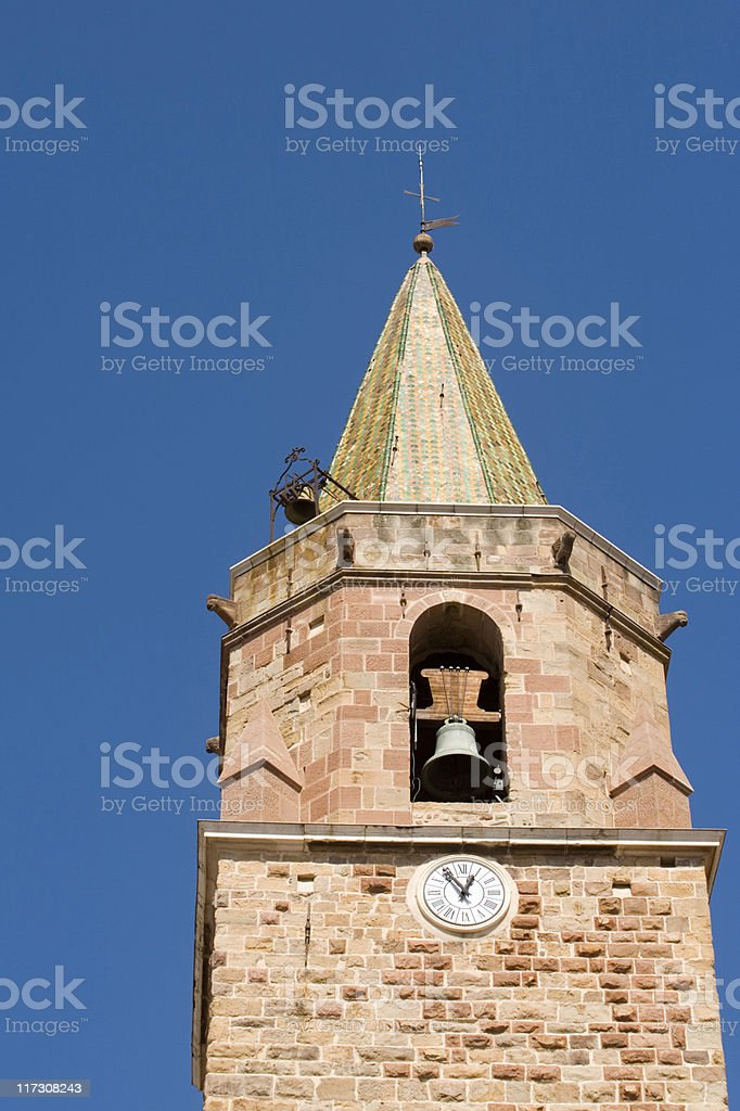 clock tower of the Saint-Léonce de Fréjus Cathedral royalty-free stock photo