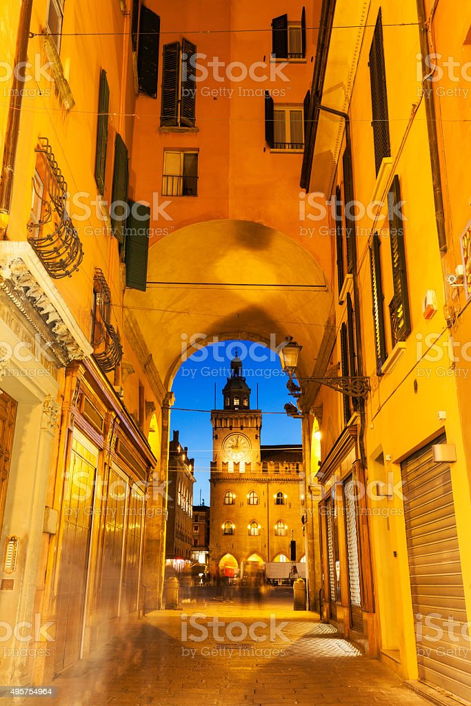 Clock Tower on  Piazza Maggiore in Bologna stock photo