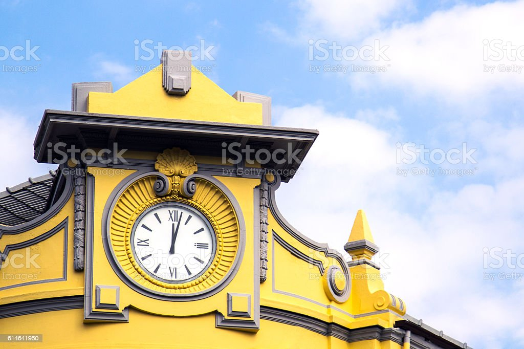 Clock tower on top of the building stock photo