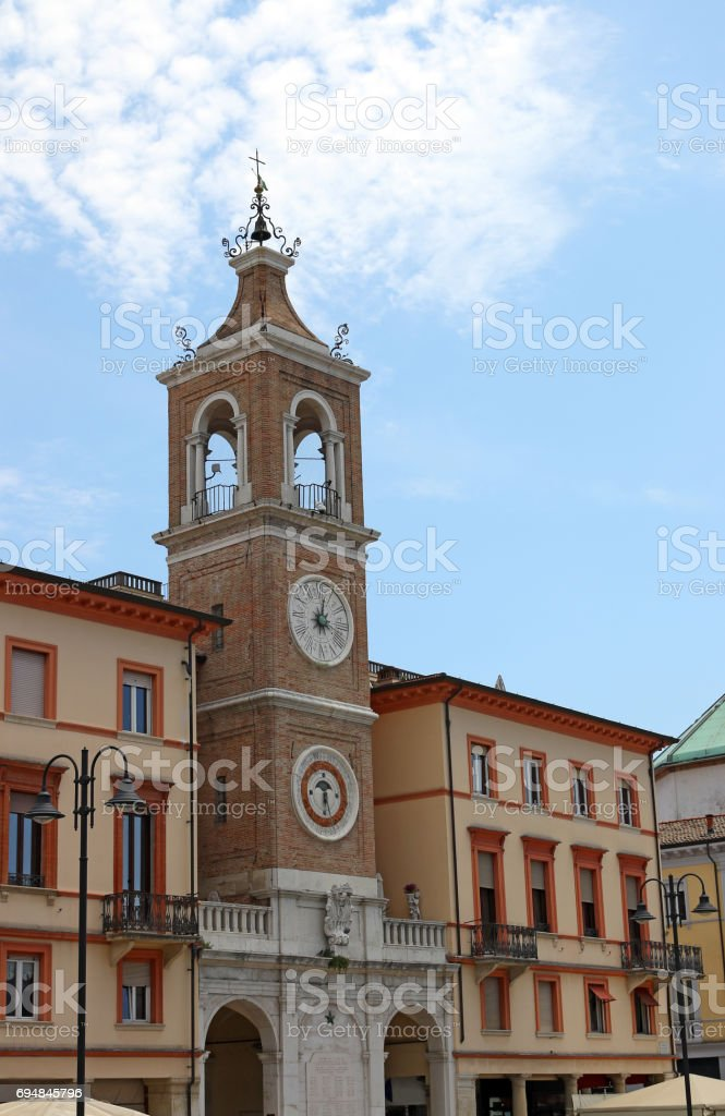 clock tower Piazza Tre Martiri Rimini landmark stock photo