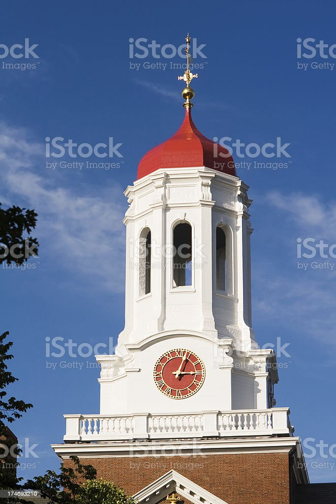 Clock tower, red cupola dome, Dunster House, Harvard University royalty-free stock photo