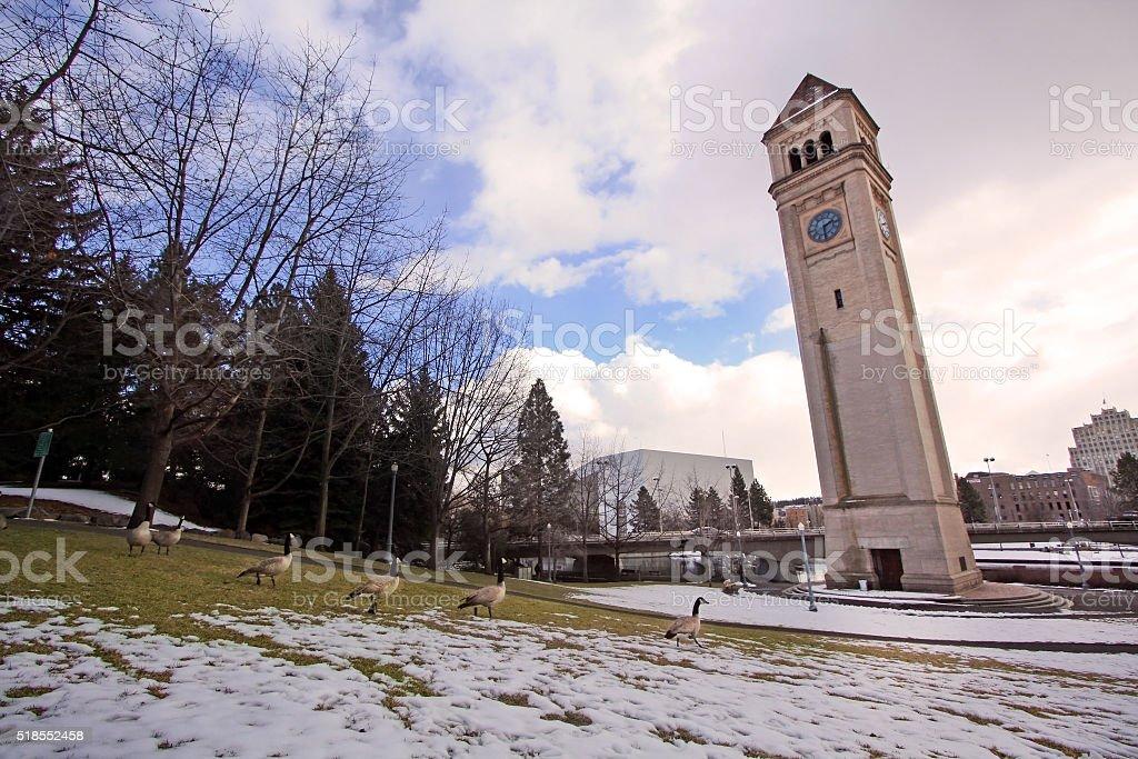 Clock Tower, Spokane, Washington stock photo