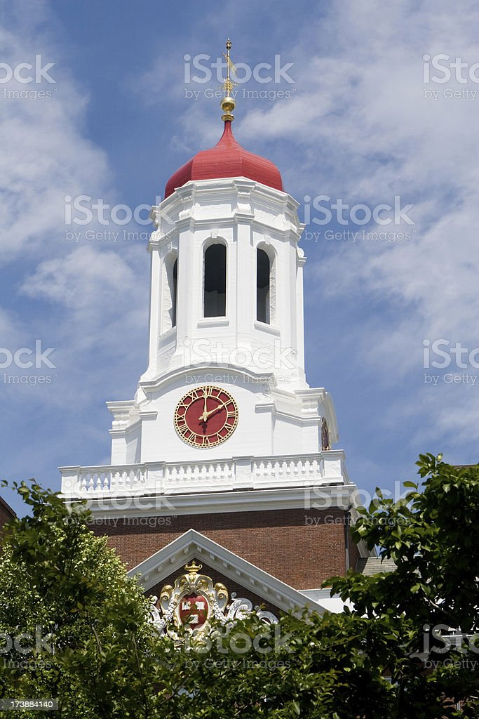 Clock tower with red cupola dome, Dunster House, Harvard University stock photo