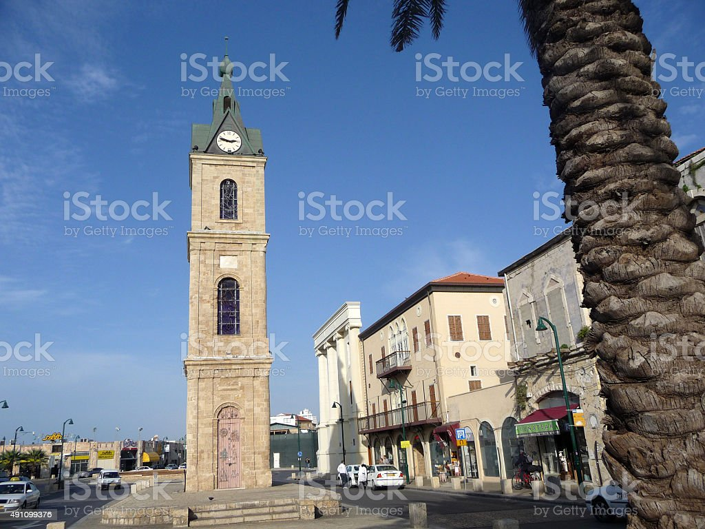 Clock Tower with stained glass in Jaffa stock photo