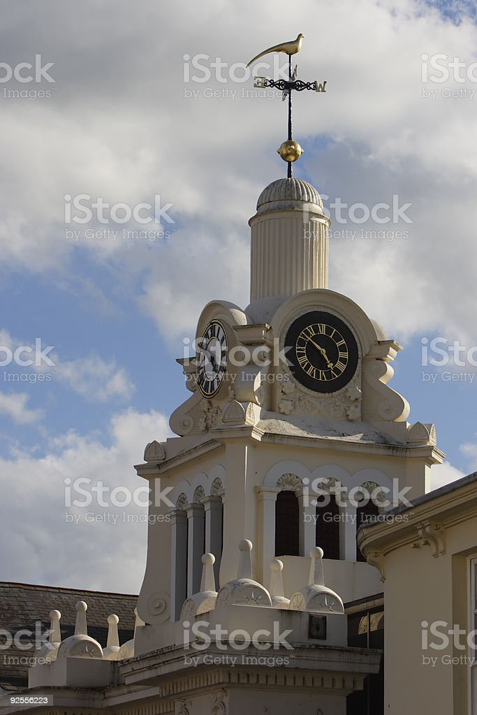 Clock Tower With Weathervane royalty-free stock photo