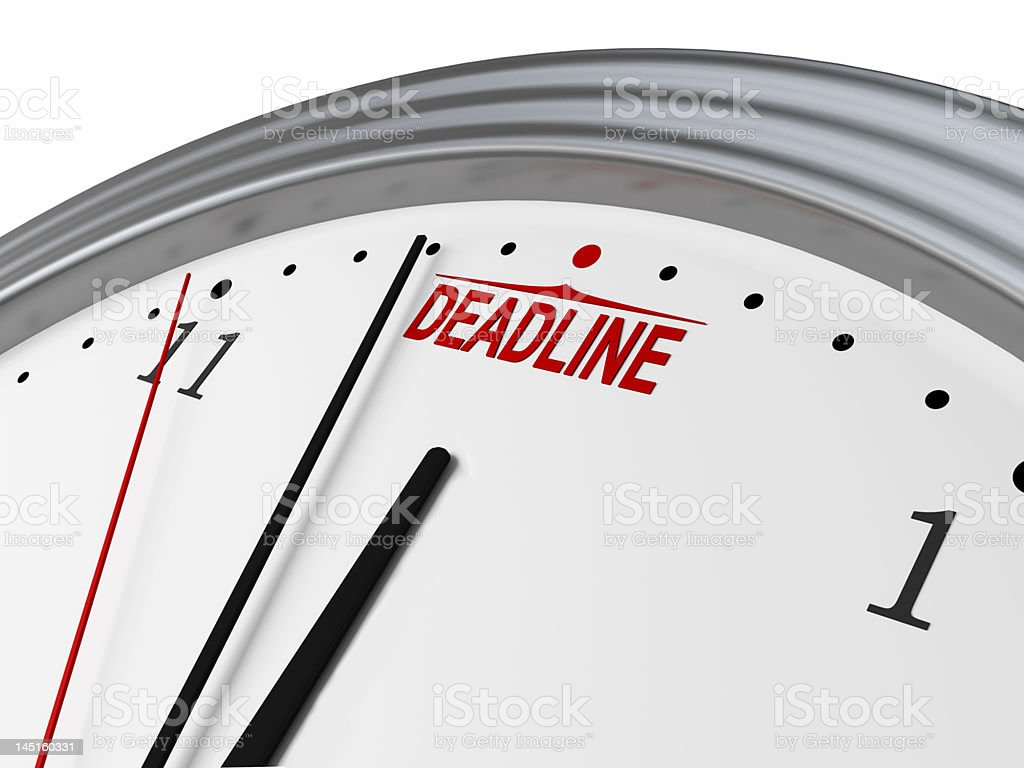 A clock with a fast approaching deadline royalty-free stock photo