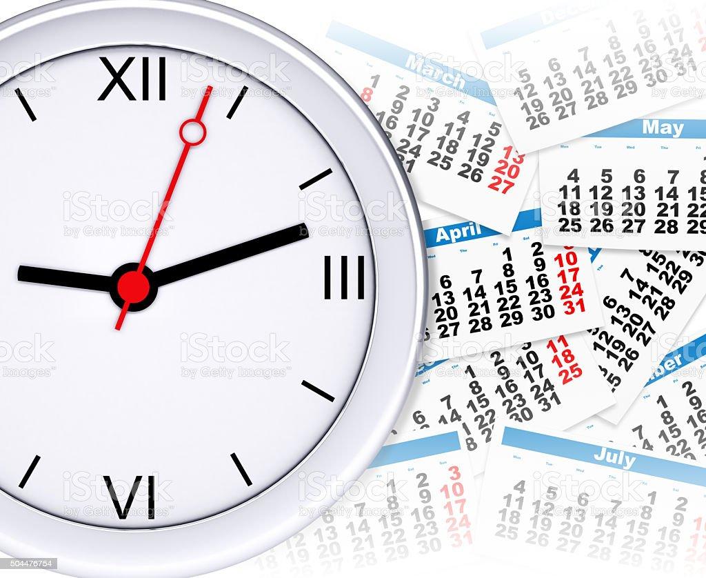 Clock with calendar stock photo