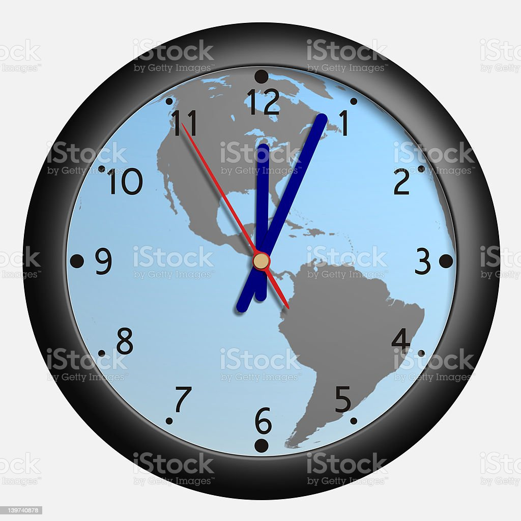 Clock with earth globe bkg royalty-free stock vector art