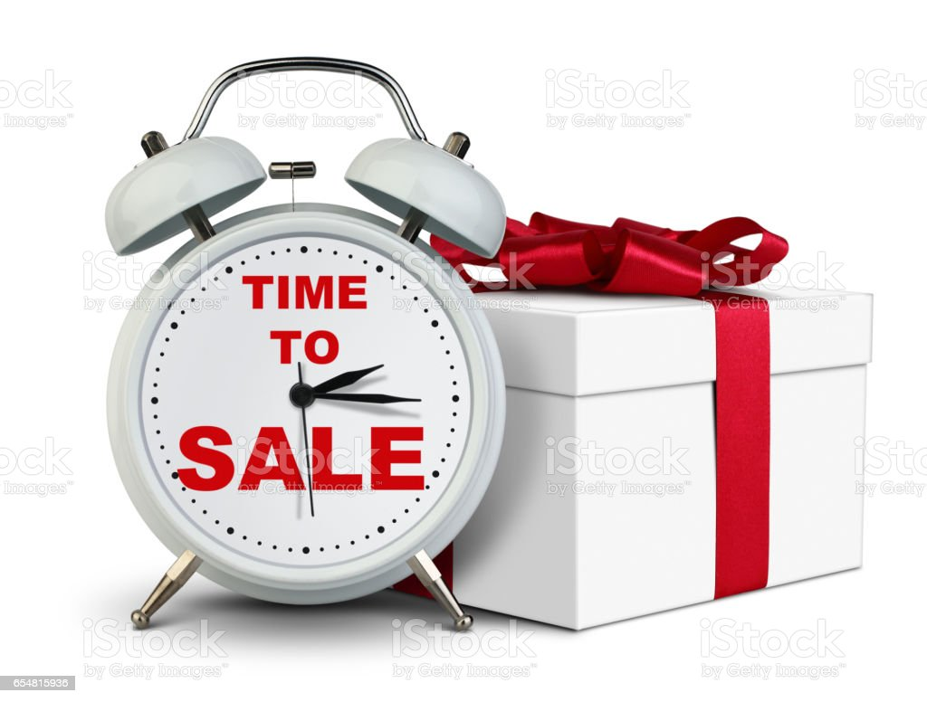 Clock with gift, time to sale concept on white stock photo