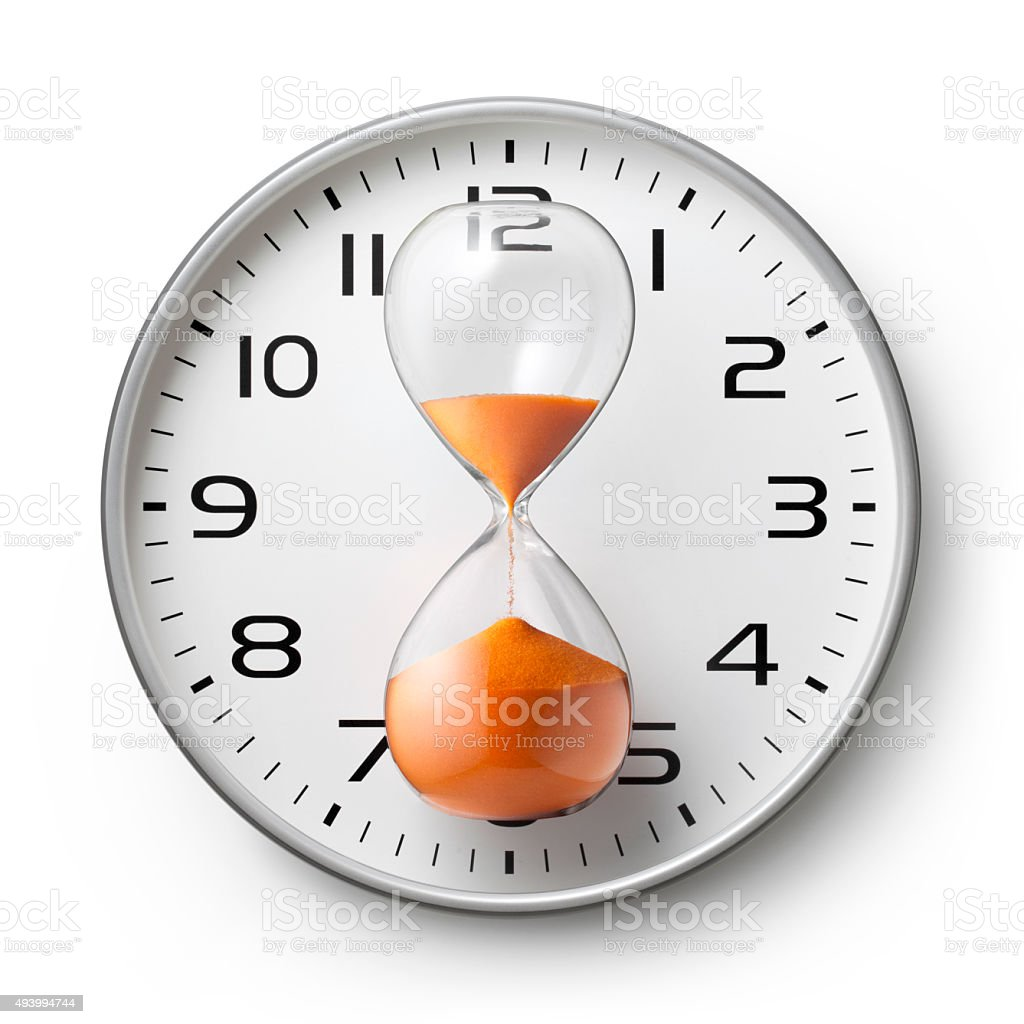 Clock with hourglass stock photo