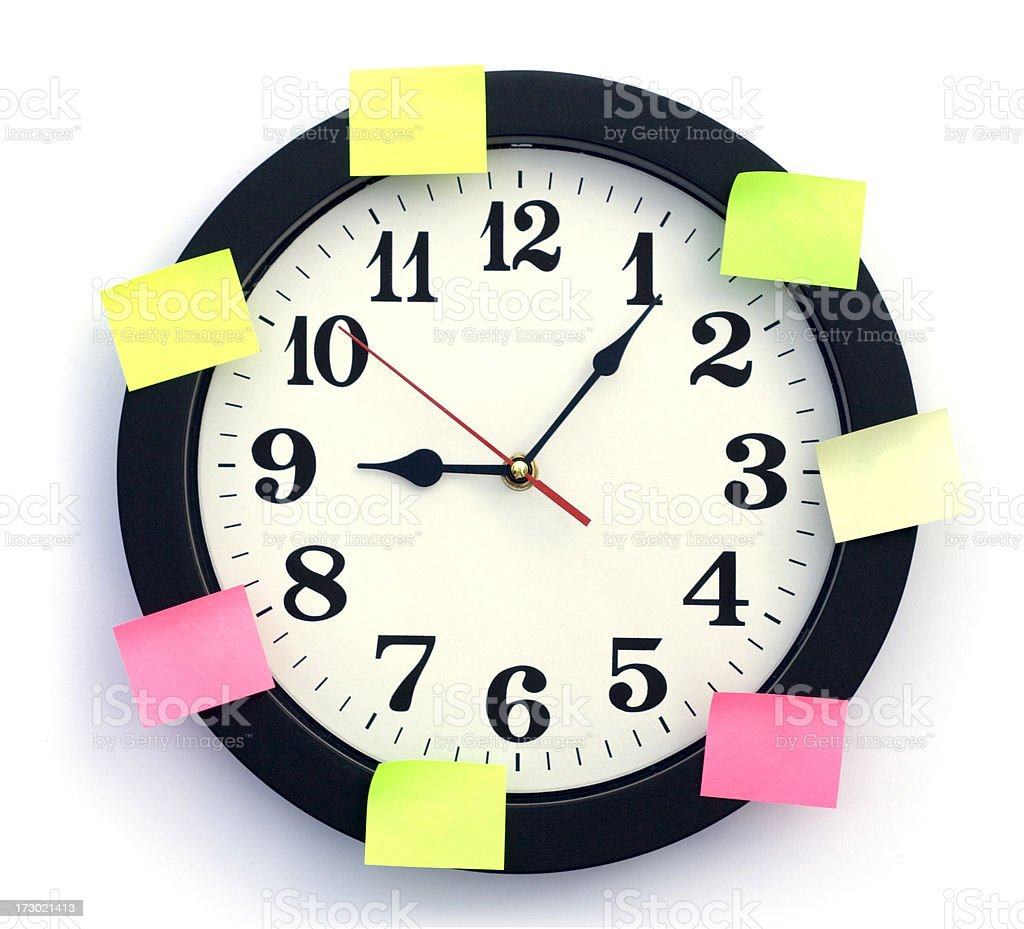 Clock with labels royalty-free stock photo