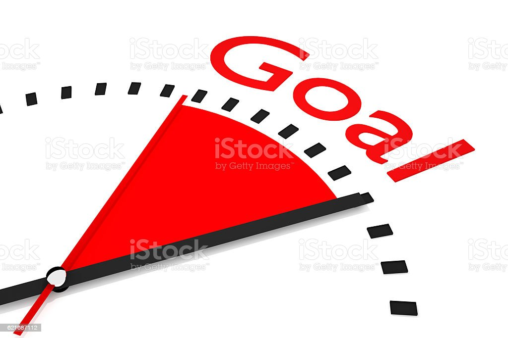 clock with red seconds hand area goal 3D Illustration stock photo