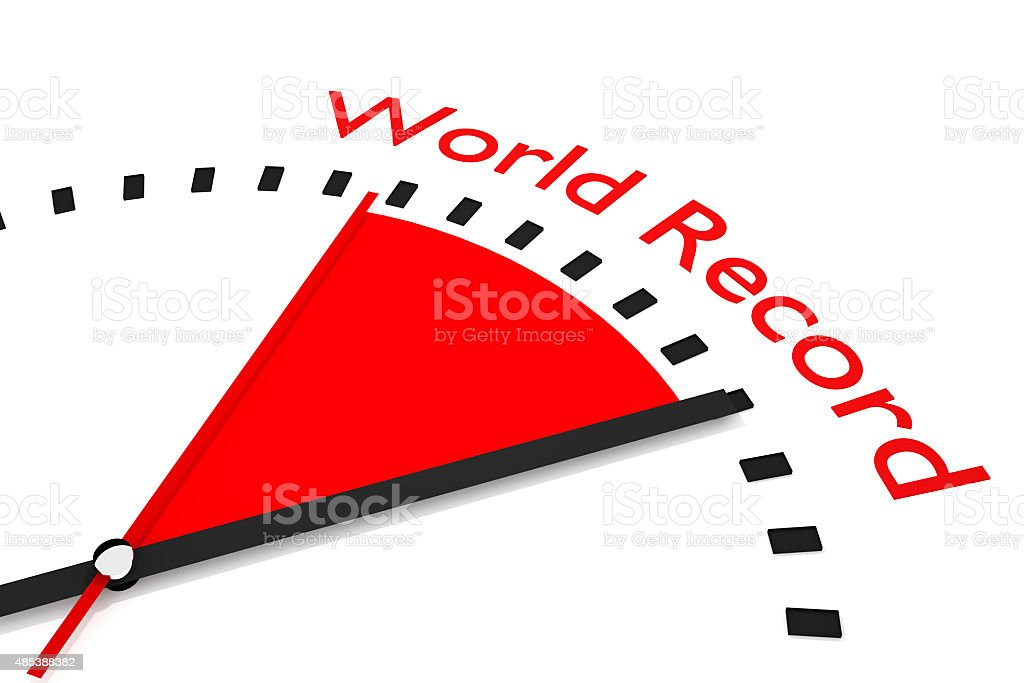clock with red seconds hand area world record stock photo