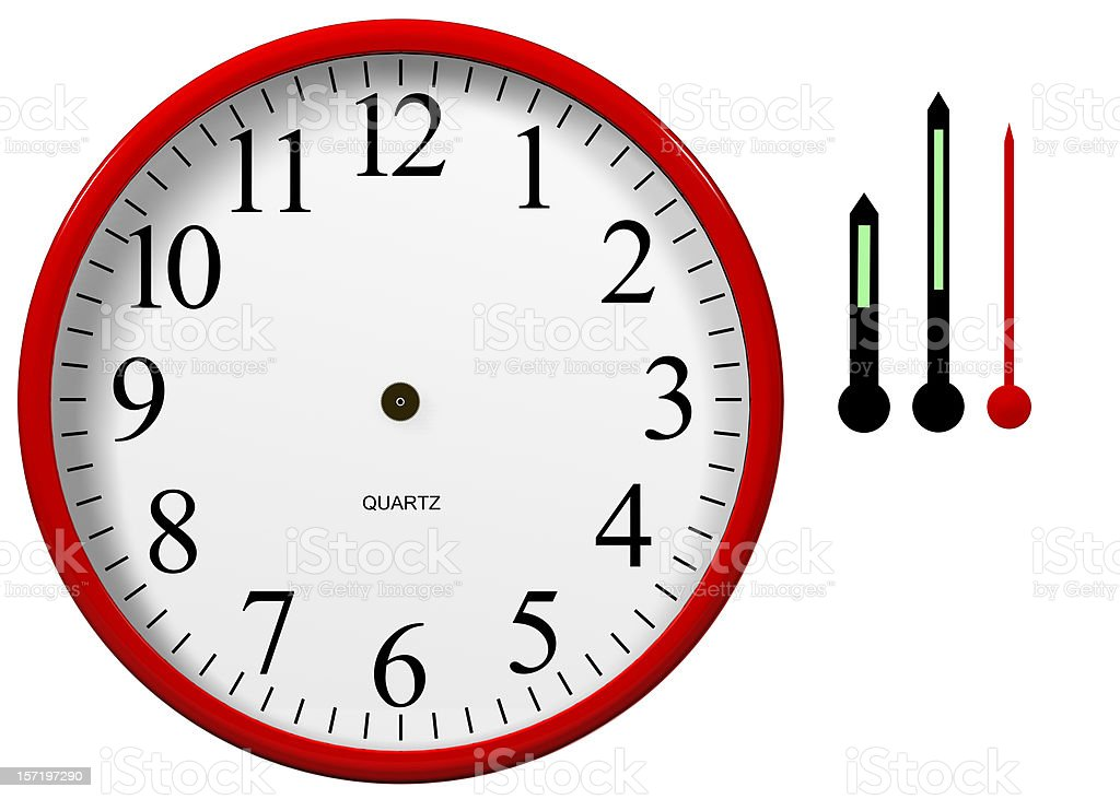 Clock with Separated Hands royalty-free stock photo