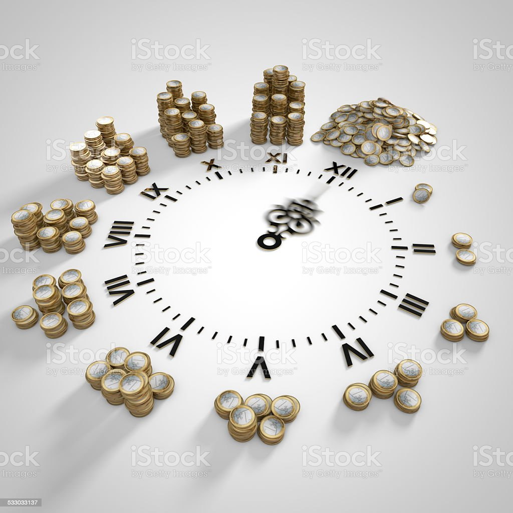 clock with stacks of coins,time is money concept. stock photo